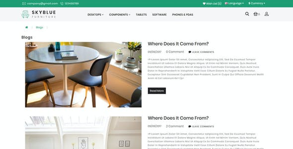 Skyblue Furniture and Home Decor OpenCart 3.x Responsive Theme
