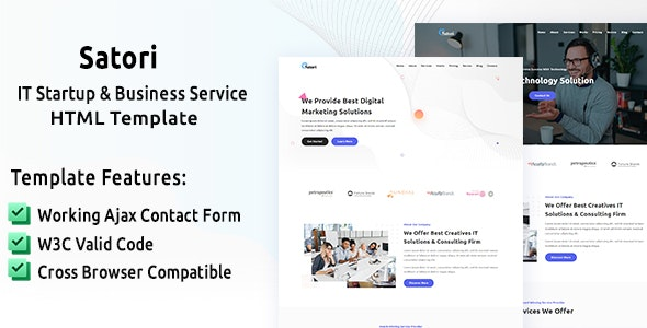 Satori - IT Startup & Business Service HTML Template - Technology Site Templates