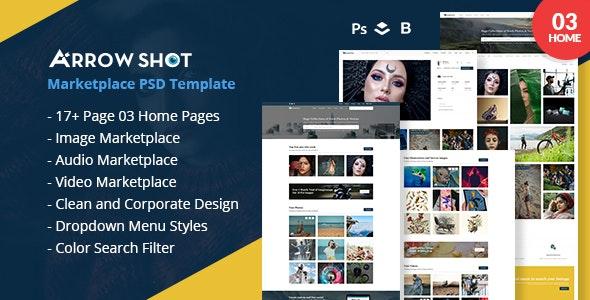 Arrowshot marketplace psd template - Photography Creative