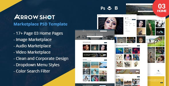 Arrowshot marketplace psd template