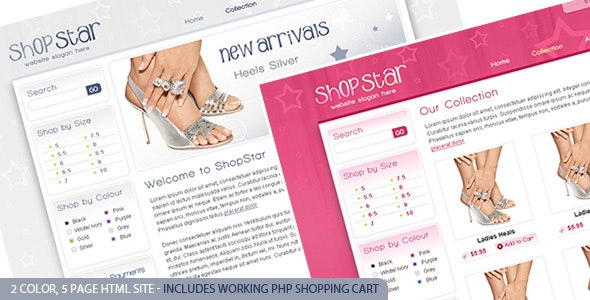 Shop Star - 2 Color Template inc PHP Shopping Cart - Retail Site Templates