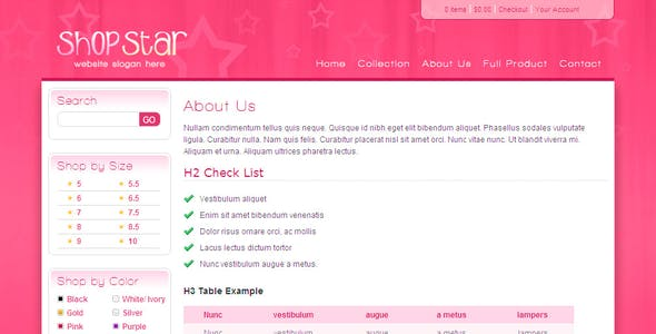 Shop Star - 2 Color Template inc PHP Shopping Cart