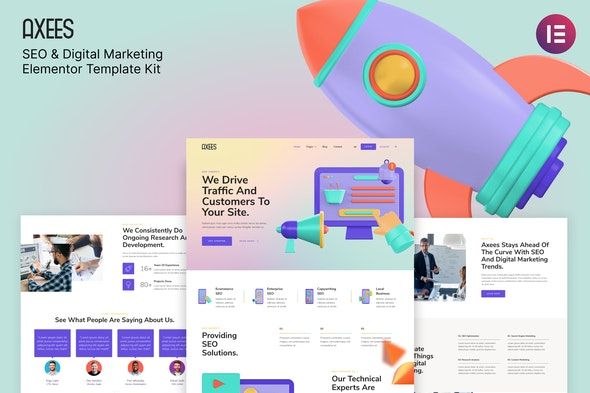 Axees – SEO & Digital Marketing Elementor Template Kit - Creative & Design Elementor