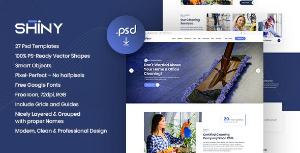 SHINY - Multi-Purpose Cleaning Services PSD Template - Photoshop UI Templates