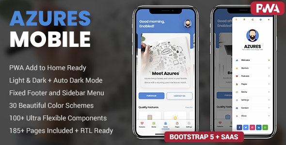 Azures v1.0 – Mobile Template & PWA