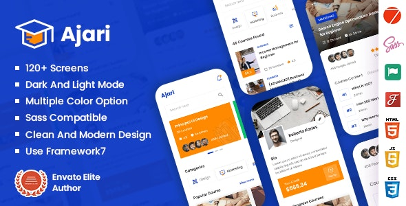Ajari - E-learning Mobile App Template ( Framework 7 + PWA ) - Mobile Site Templates