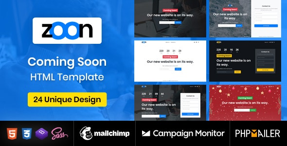 Coming Soon Template - Zoon - Under Construction Specialty Pages