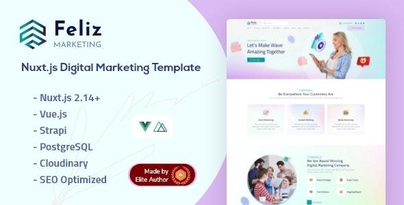 Feliz - Nuxt.js Strapi Digital Marketing Template - Marketing Corporate