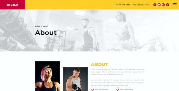 Bibila – Fitness Template for Photoshop