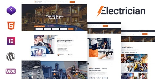 Electrician - Electricity Services WordPress Theme - Business Corporate