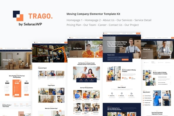 Trago | Moving Company Elementor Template Kit - Business & Services Elementor
