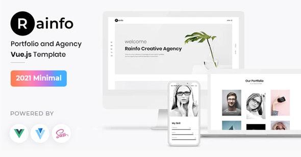 Rainfo - Vue JS Minimal Agency and Portfolio Template - Portfolio Creative