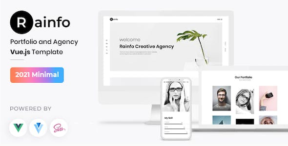 Rainfo - Vue JS Minimal Agency and Portfolio Template