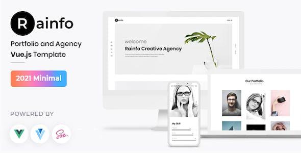 Rainfo - Vue JS Minimal Agency and Portfolio Template