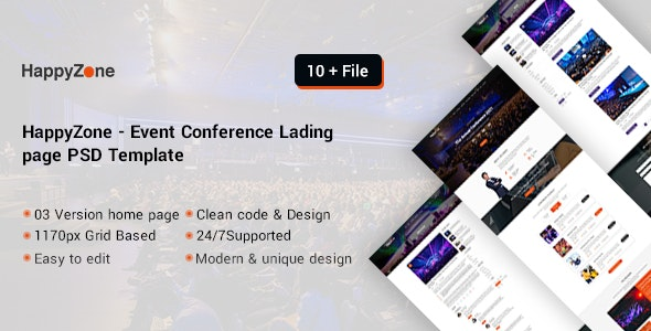 HappyZone Event Conference landing page psd template - Events Entertainment