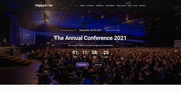HappyZone Event Conference landing page psd template