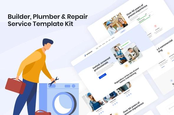 Handyman | Builder Plumber & Repair Service Elementor Template Kit - Business & Services Elementor