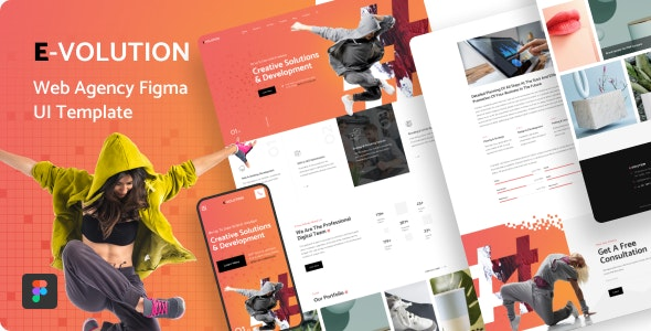 E-Volution - Web Agency Figma UI Template - Corporate Figma