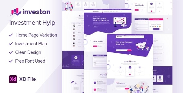 Investon - Investment Hyip XD Template - Business Corporate