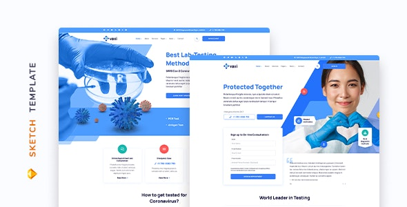 Vaxi – COVID Vaccination Template for Sketch - Business Corporate