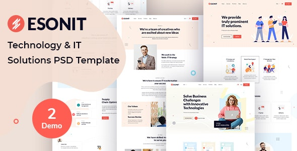 ESONIT- Technology & IT Solutions PSD Template - Technology Photoshop