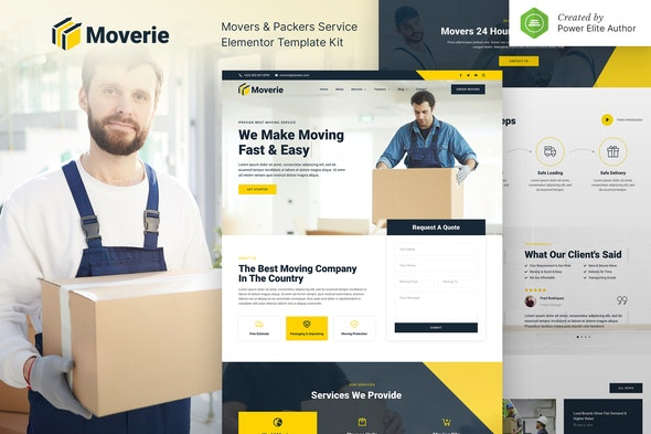 Moverie – Movers & Packers Service Elementor Template Kit - Business & Services Elementor