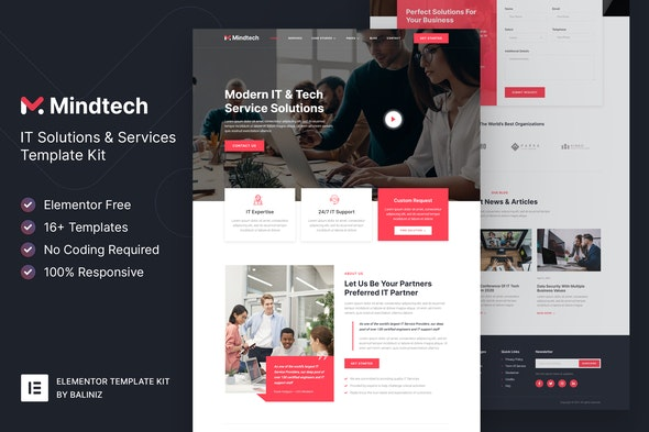 Mindtech – IT Solutions & Services Company Elementor Template Kit - Technology & Apps Elementor