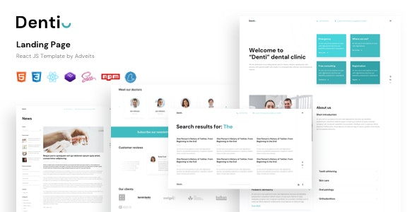 Denti - Landing page React JS Template - Business Corporate