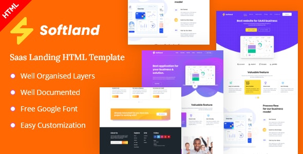 Softland-Saas Landing Page HTML Template - Technology Site Templates