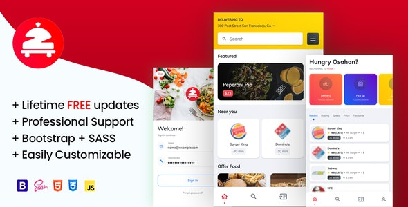 Zomoto - Food Order Directory, Restaurants, Fast Food, Bars Mobile Template - Retail Site Templates