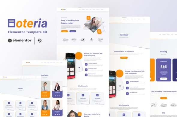 Hoteria - Hotel Service Elementor Template Kit  - Travel & Accomodation Elementor