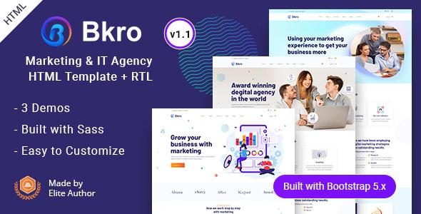 Bkro - Marketing & IT Agency HTML Template - Marketing Corporate