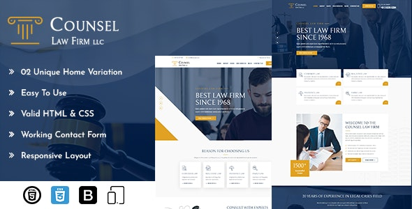 Counsel Law Firm HTML - Corporate Site Templates