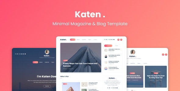Katen - Minimal Blog & Magazine HTML Template - Entertainment Site Templates