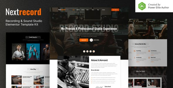 Nextrecord – Recording & Sound Studio Elementor Template Kit