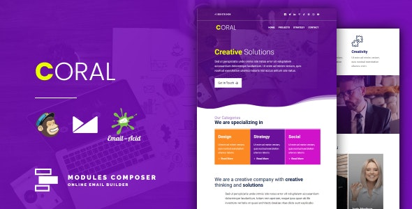 Coral - Responsive Email for Agencies, Startups & Creative Teams with Online Builder - Newsletters Email Templates