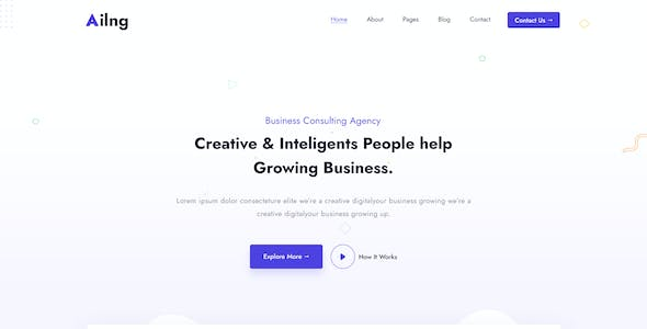 Ailng Creative Consulting & Business Agency PSD Template