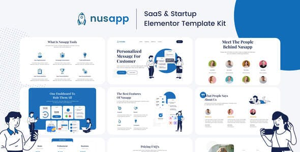 Nusapp - SaaS Startup & Business Elementor Template Kit