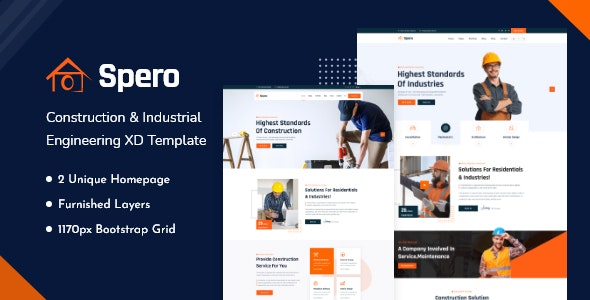 Spero - Construction And Industrial Engineering XD Template - Business Corporate