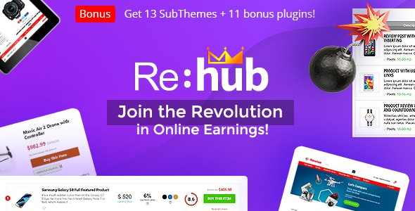REHub - Affiliate Wordpress, Multi Vendor Marketplace, Price Comparison, Niche Review Theme - Blog / Magazine WordPress