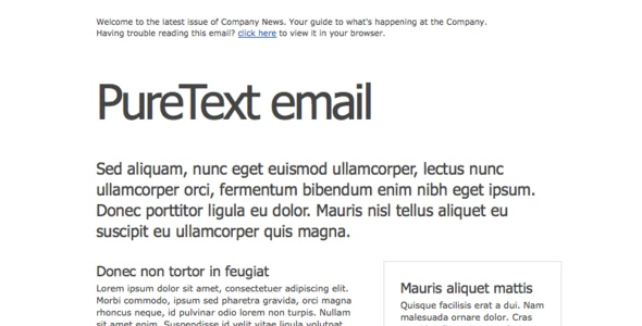 PureText Email Newsletter - Email Templates Marketing