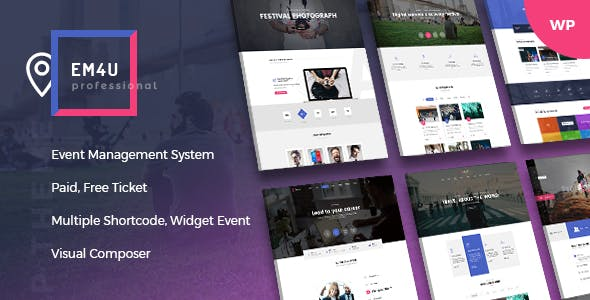 Events WordPress Theme for Booking Tickets - EM4U