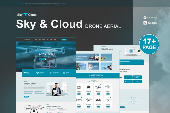 Sky&Cloud - Drone Aerial Photography & Videography Elementor Template Kit - Technology & Apps Elementor
