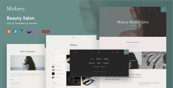 Mykery - Beauty Salon Vue JS Template