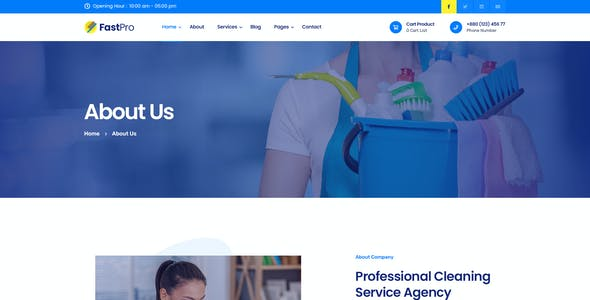FastPro - Cleaning Services PSD Template