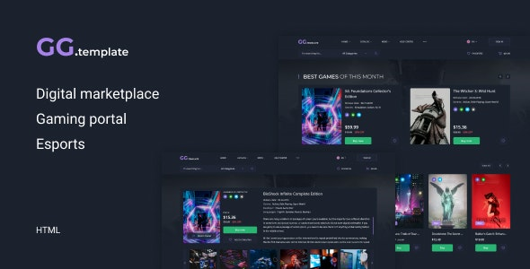 GoGame – Digital marketplace HTML Template - Entertainment Site Templates
