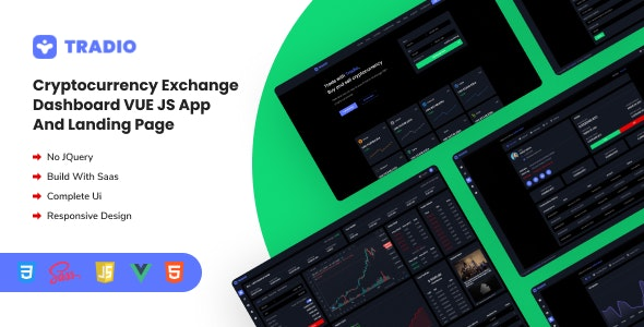 Tradio - Cryptocurrency Exchange Vue App Dashboard - Admin Templates Site Templates