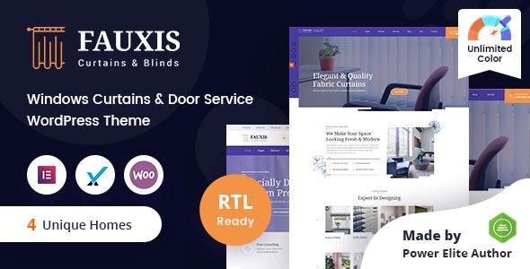 Fauxis - Windows Curtains WordPress Theme + RTL - Business Corporate