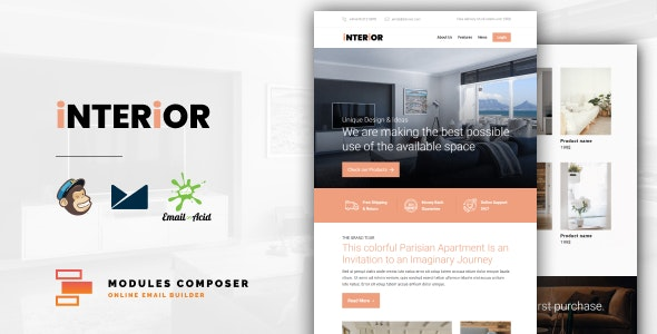 Interior - E-Commerce Responsive Furniture and Interior design Email with Online Builder - Email Templates Marketing