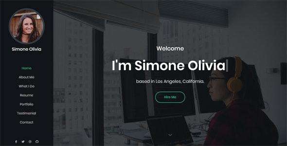 Simone - Personal Portfolio Template - Virtual Business Card Personal